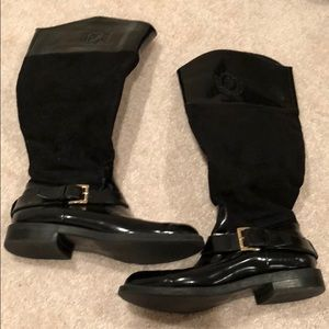 Zara knee high boots. Suede and leather.